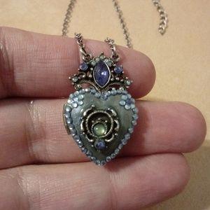 Jewelry - Blue Glittery Heart Locket Necklace